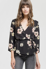 Black Floral Crossover Top