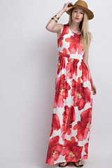 Pocketed Floral Watercolor Maxi Dress