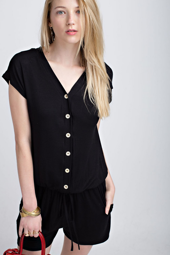 Super Soft Black Button Up Romper