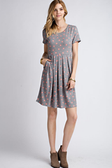 Polka Dot Pleated Pocketed Dress