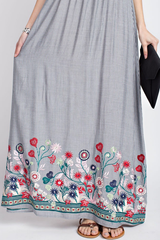 Navy Striped Maxi with Embroidered Hemline
