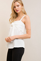 Crinkle Tank with Front Ribbon Detail