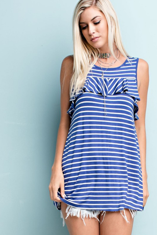 Striped Loose Fitting Ruffle Tank