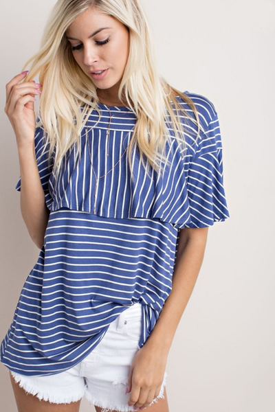 Striped Tee with Peplum Sleeves