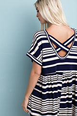 Multi Striped Tunic with Back Detail