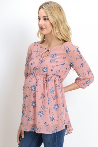 Mauve Floral Maternity Tunic Top