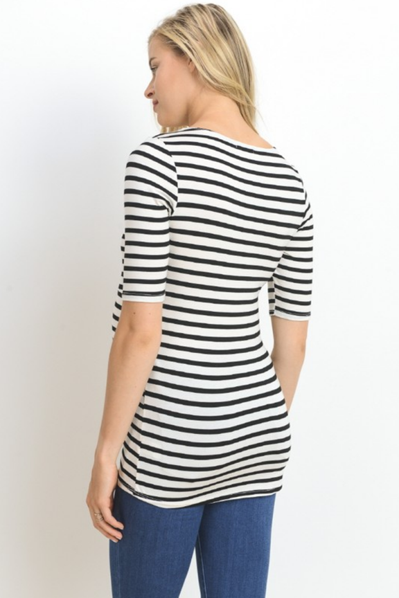 Nursing Friendly Black Striped Tee
