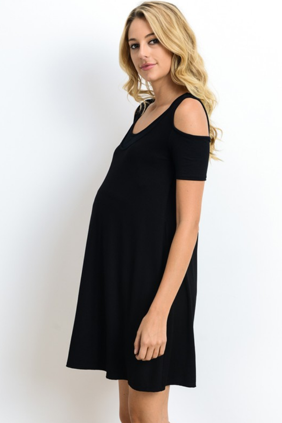 Nursing Friendly Black Cold Shoulder Dress