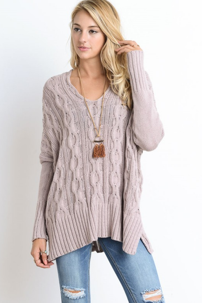 Mauve Oversized Cable Knit Sweater