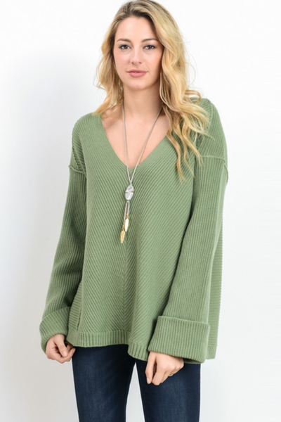 Oversized Sage V-Neck Sweater Top