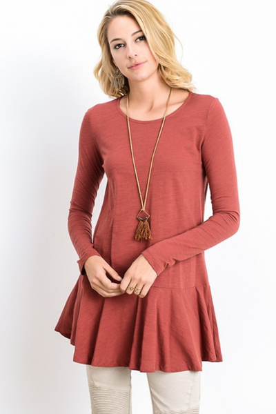 Long Sleeve Crew Neck Swing Tunic Dress