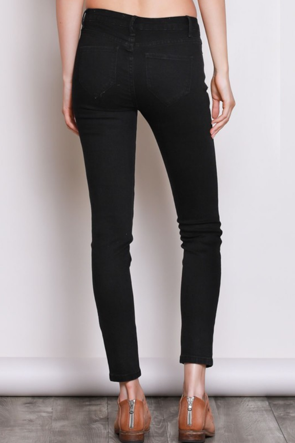 Black Distressed Mid Rise Skinny Jeans