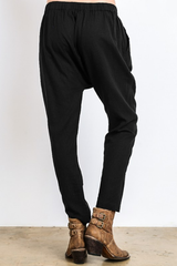 Black Relaxed Flax Jogger