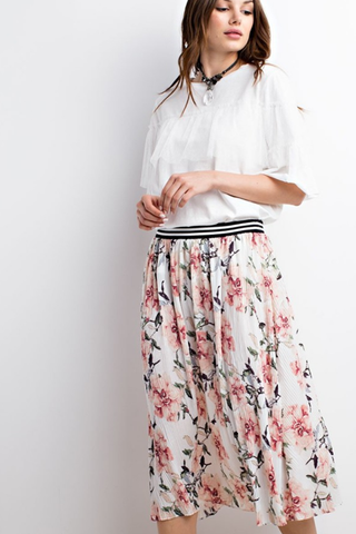 Soft Satin Floral Pleated Skirt