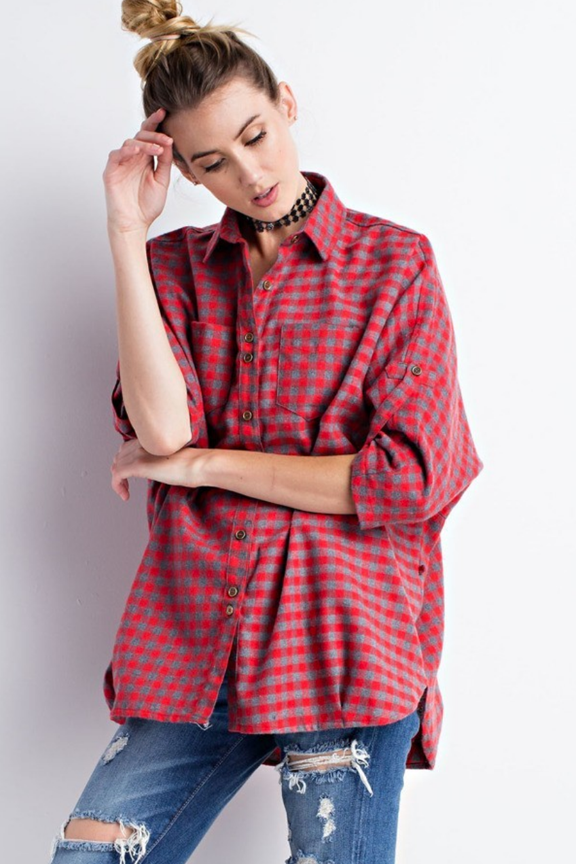 Red & Heather Soft Boxy Button Down Shirt
