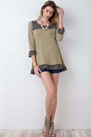 Slub Knit Trimmed Baby Doll Tunic