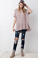 Mauve Drapey Textured Chunky Sweater Tunic