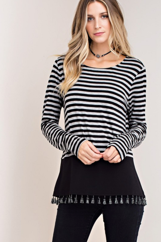 Stretchy Striped Jersey Tee with Fringe