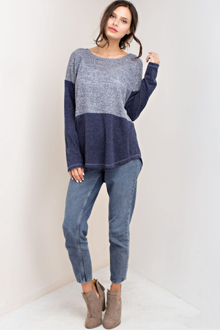Navy Fabric Mix Knit Top