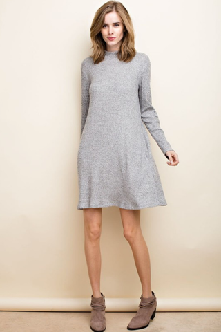 Mock Neck Cozy Soft Pocketed Dress