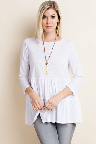 Ivory Slub Knit Ruffle Tiered Top
