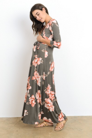 Olive Floral Faux Wrap Maternity Maxi Dress