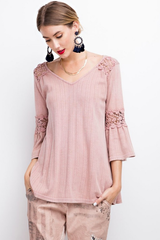 Bell Sleeved Oil Washed Top