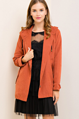 Brick Suede Button Up Jacket