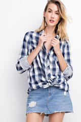 Faded Navy Oversized Plaid Button Down