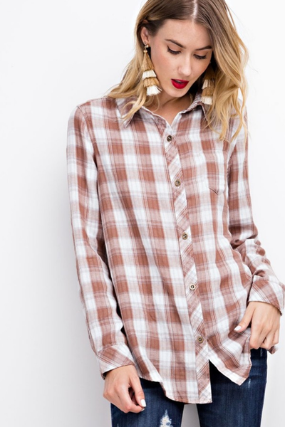 Mushroom Oversized Plaid Button Down
