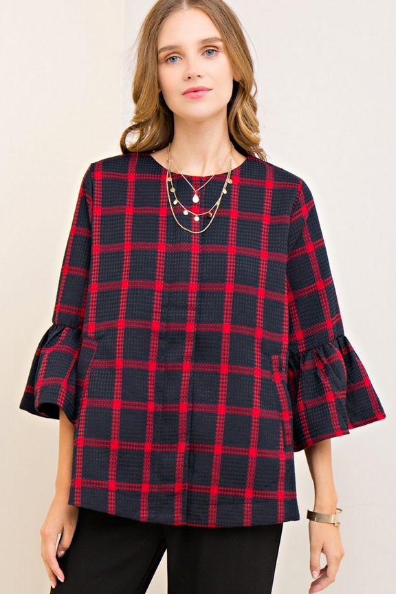 Plaid Baby Doll Jacket with Pockets