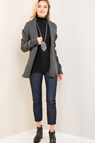 Charcoal Open Cardigan with Strappy Detail