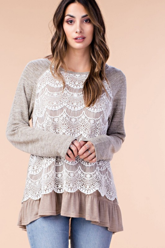 Soft Sage Lace Front Top