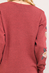 Marsala Pink Embroidered Floral Sweater