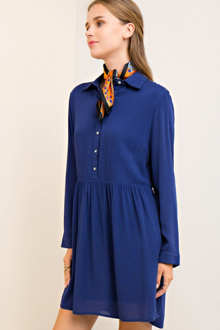Navy Crinkle Button Down Dress
