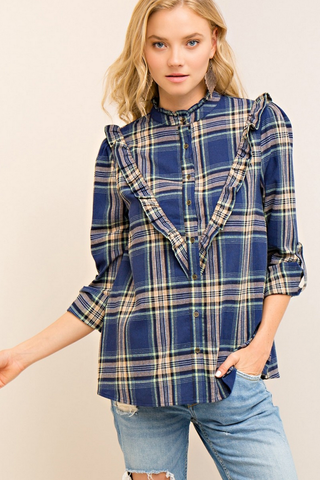 Ruffled Plaid Button Down