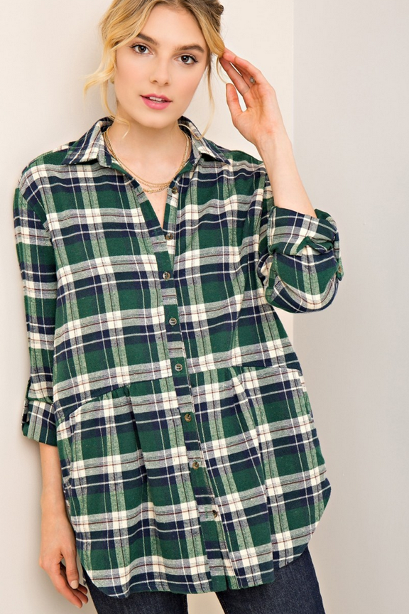 Plaid Pocketed Button Down Top