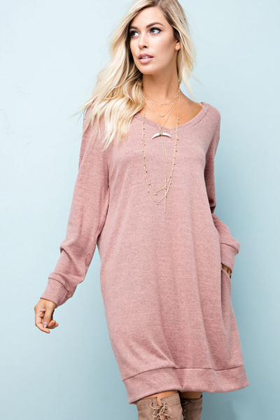 Hacci Knit Pocketed Jersey Dress