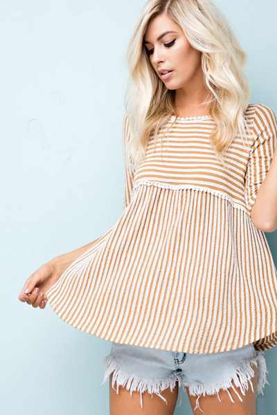Mustard Yellow Striped Ribbed Top
