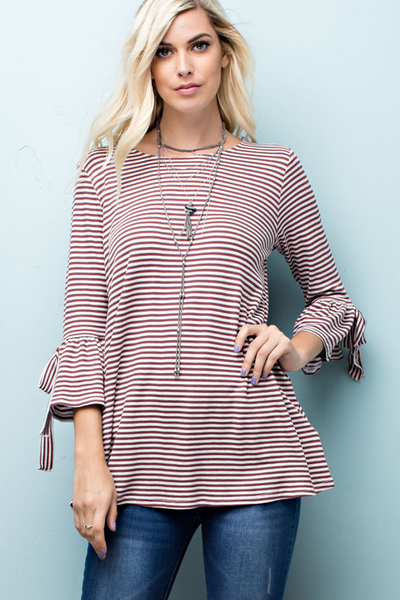 Thermal Striped Top with Ribbon Detail
