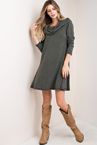 Cowl Neck Ribbed Dress