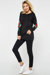 Rose Patch Sleeve Sweatshirt