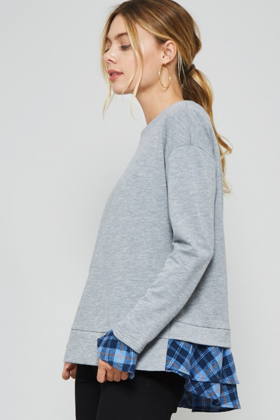 Plaid Ruffle Detail Sweatshirt Top