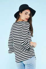 Ruffle Sleeve Black Striped Top