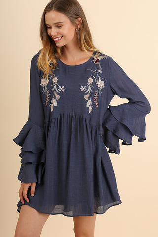 Layered Ruffle Embroidered Dress