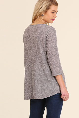 Heather Gray V-neck Top