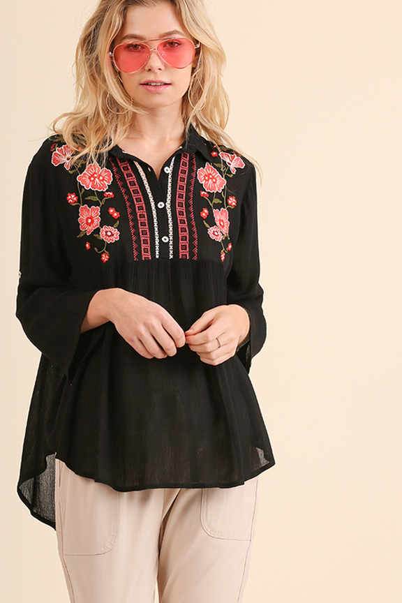 Floral Embroidered Button Up Top