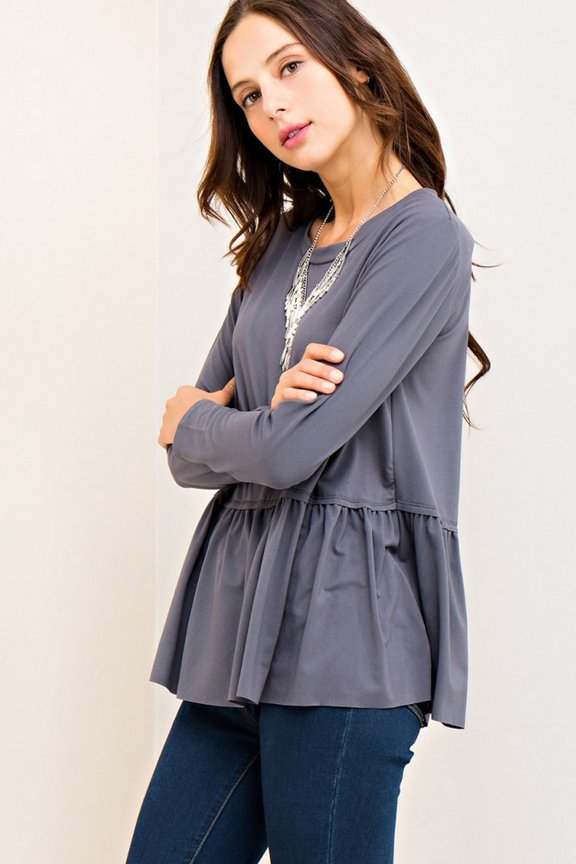 Charcoal Scoop Neck Peplum Top