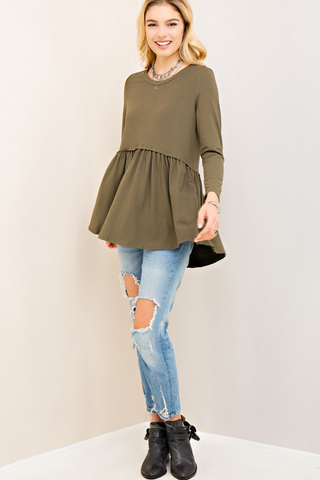Olive Scoop Neck Baby Doll Top