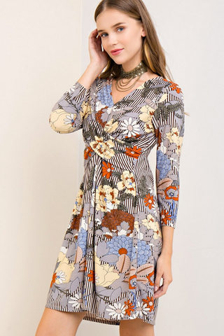 Floral Striped Wrap Dress